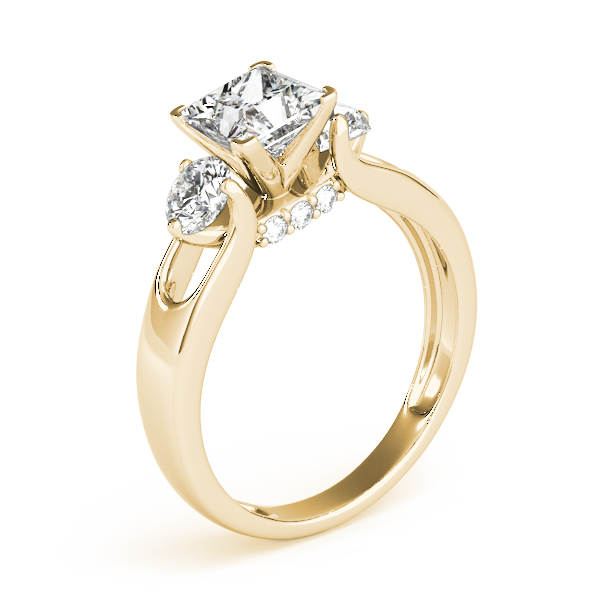 Diamond Engagement Rings - 14K Yellow Gold Three-Stone Round Engagement Ring - image #3