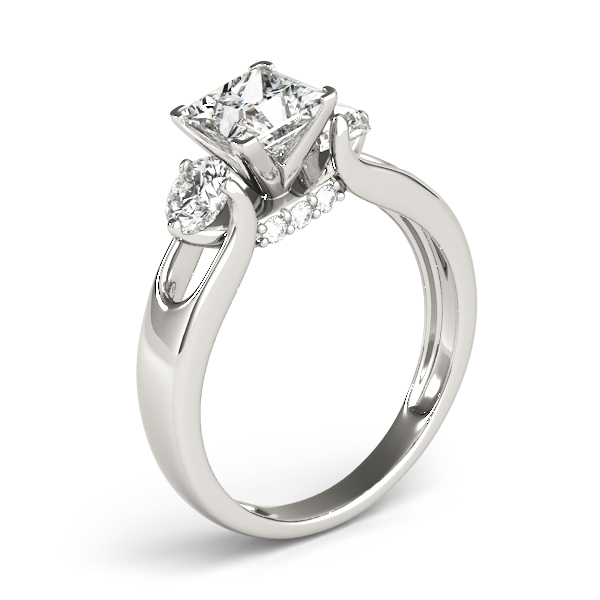 Diamond Engagement Rings - 18K White Gold Three-Stone Round Engagement Ring - image #3