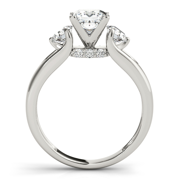 Diamond Engagement Rings - 18K White Gold Three-Stone Round Engagement Ring - image #2