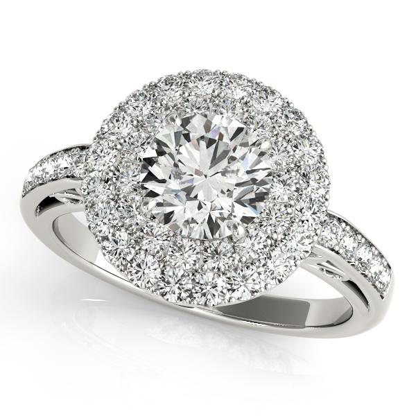 Rings - 18K White Gold Round Halo Engagement Ring