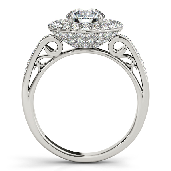 Rings - 18K White Gold Round Halo Engagement Ring - image #2