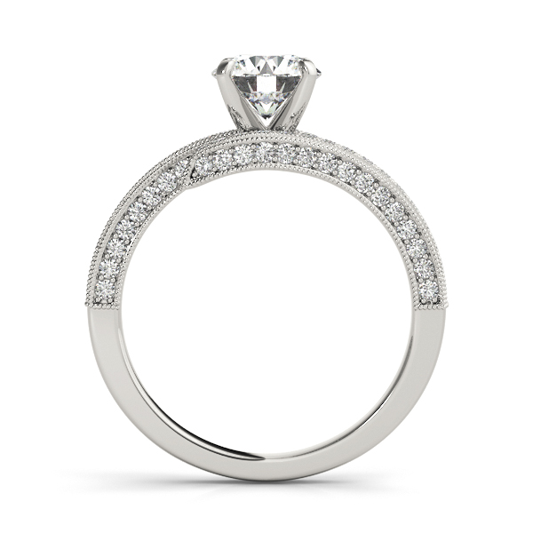 Diamond Engagement Rings - Platinum Bypass-Style Engagement Ring - image #2
