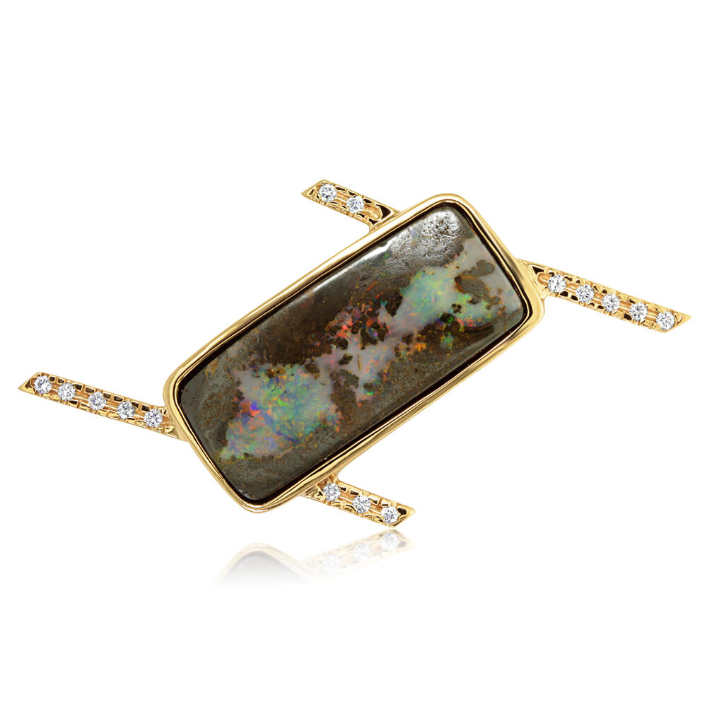 Yellow Gold Boulder Opal Pin by Parle