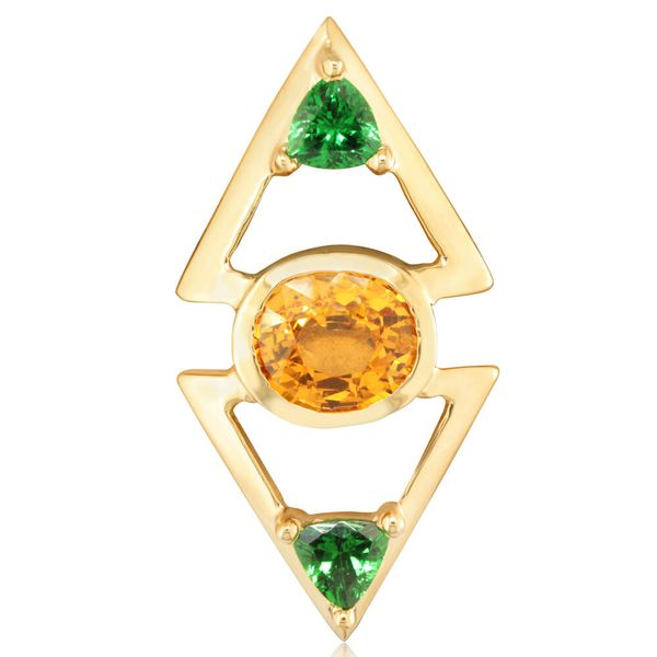 Yellow Gold Mandarin Garnet Spessartite Pin by Parle