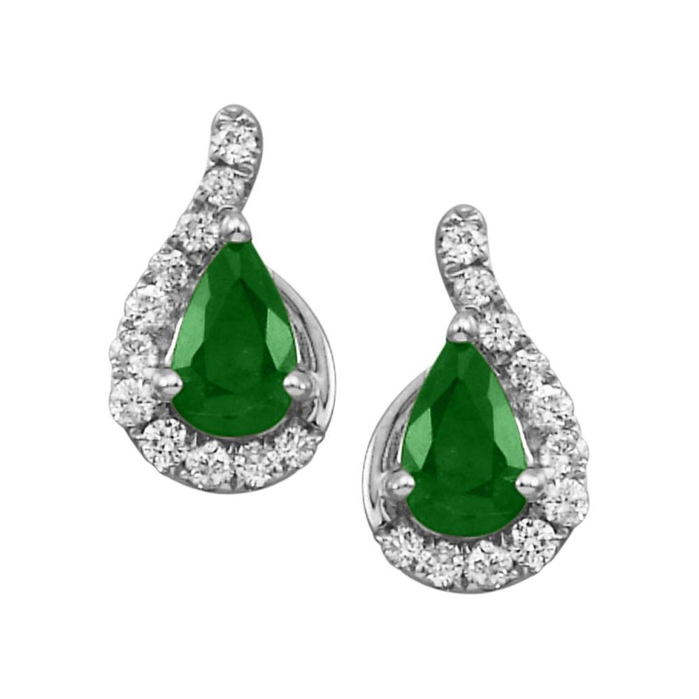 14K White Gold Emerald/Diamond Earrings by Parle