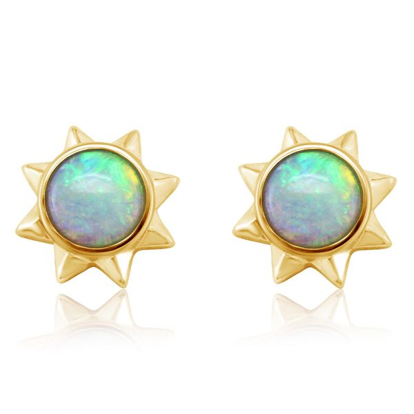 Yellow Gold Calibrated Light Opal Earrings by Parle