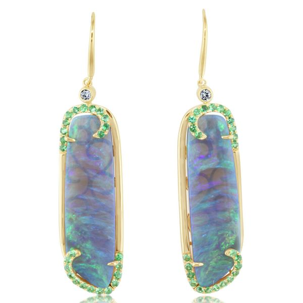 18K Yellow Gold Australian Black Opal/Diamond Earrings by Parle