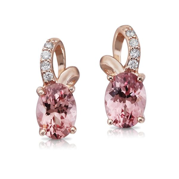 14K Rose Gold Lotus Garnet/Diamond Earrings by Parle