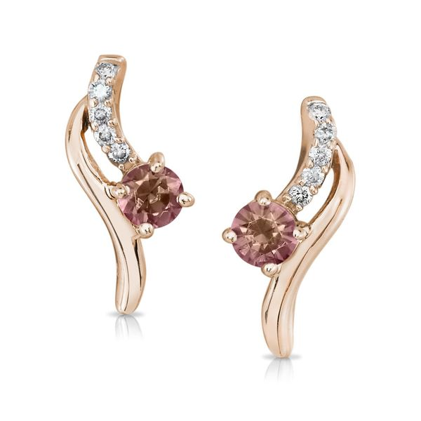 14K Gold Rose Lotus Garnet/Diamond Earrings by Parle