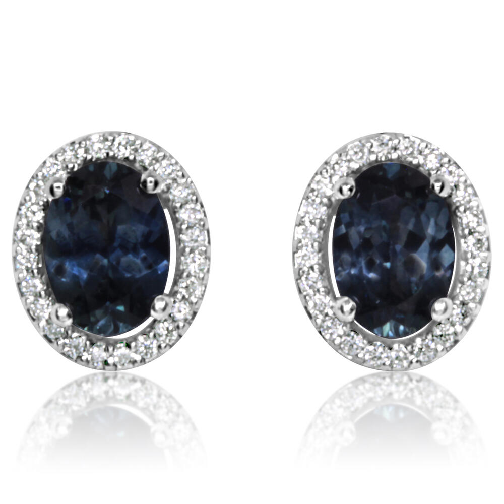 Earrings - White Gold Sapphire Earrings