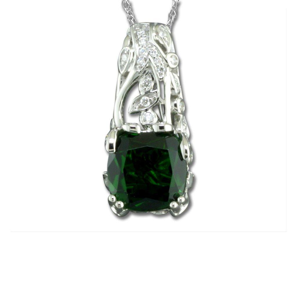 18K White Gold Chrome Diopside/Diamond Pendant by Parle