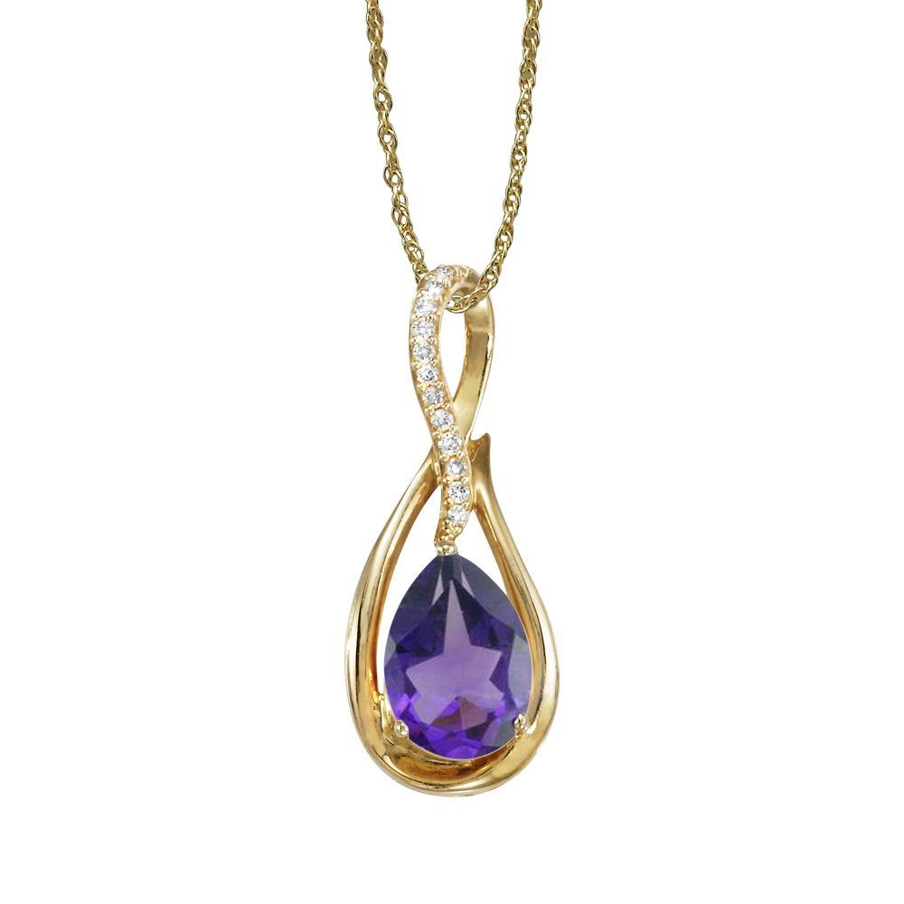 Yellow Gold Amethyst Pendant by Parle