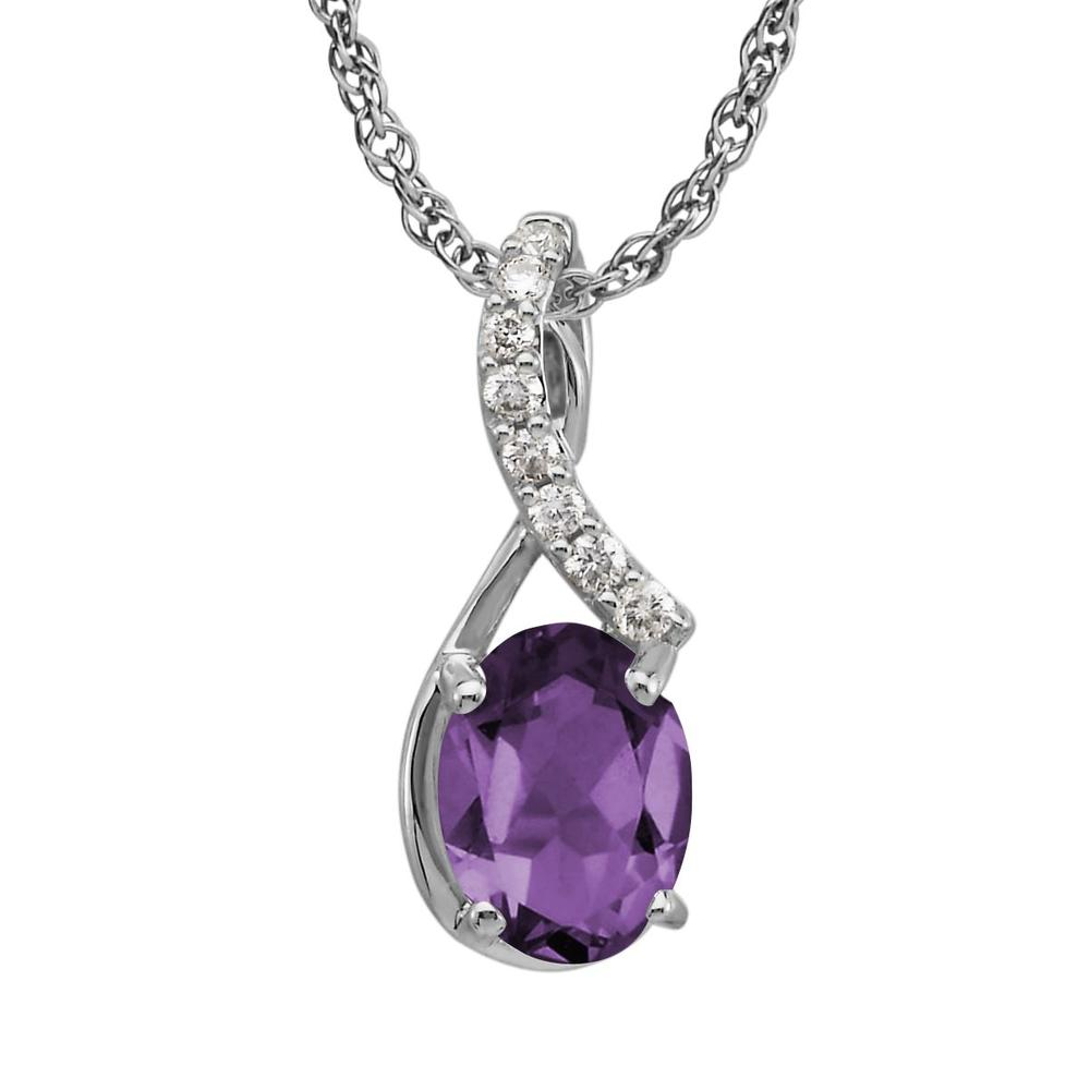 White Gold Amethyst Pendant by Parle