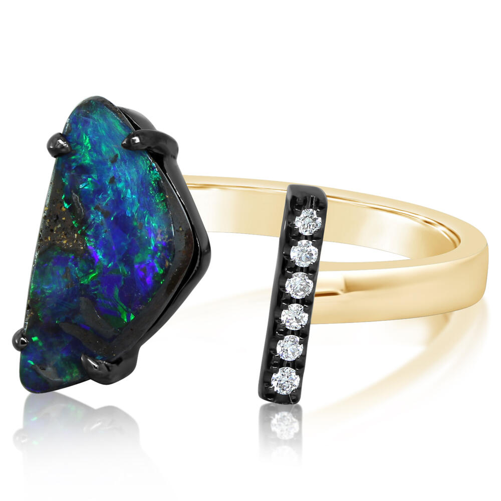 Rings - Mixed Boulder Opal Ring - image #2