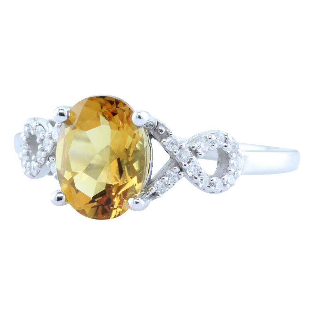 White Gold Citrine Ring by Parle