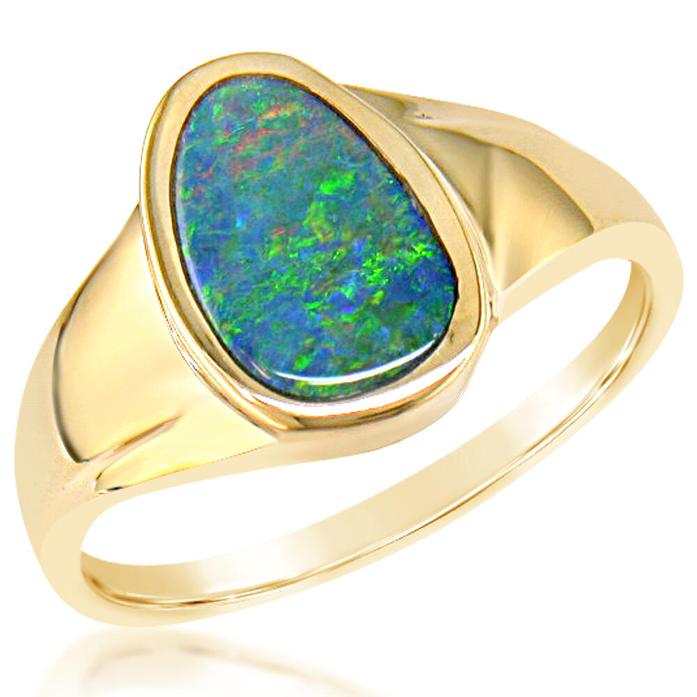 14K Yellow Gold Australian Opal Doublet Ring by Parle