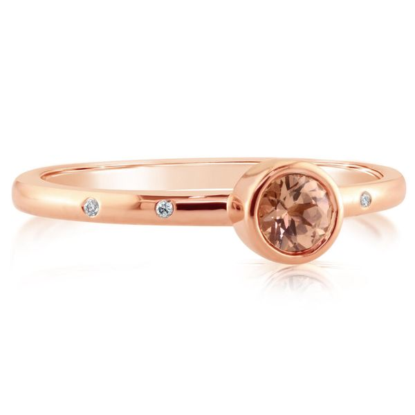 14K Rose Gold 4mm Round Lotus Garnet/Diamond Stackable Ring by Parle