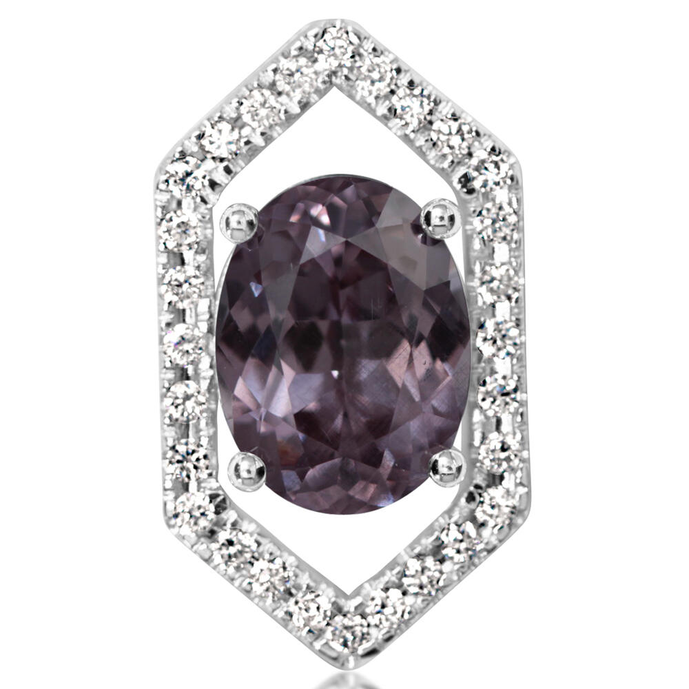 White Gold Garnet Pin - 14K White Gold Color Changing Garnet/Diamond Lapel Pin with Nickel Plate Post and Back
