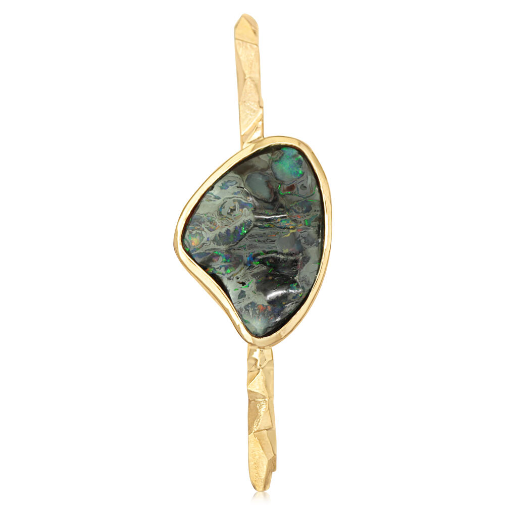 Yellow Gold Boulder Opal Pin - 14K Yellow Gold Australian Boulder Opal Lapel Pin with Yellow Plated Post and Back