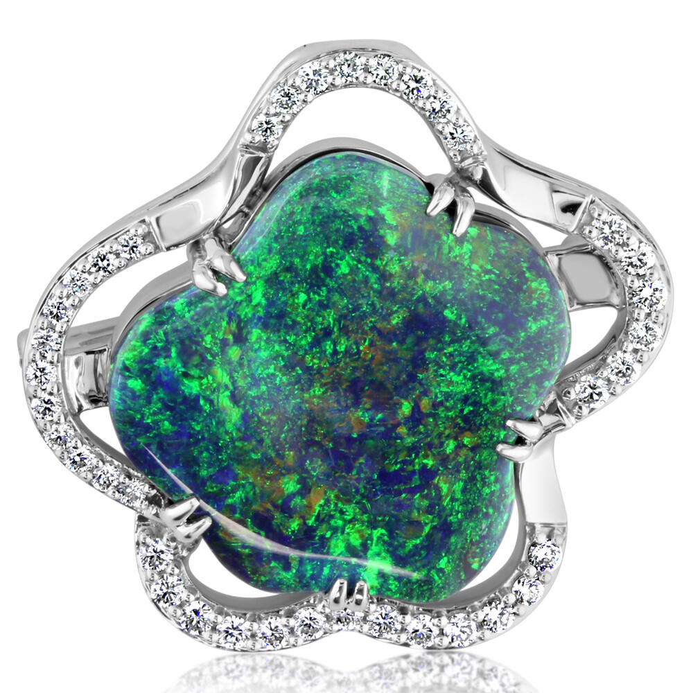 White Gold Black Opal Pin by Parle