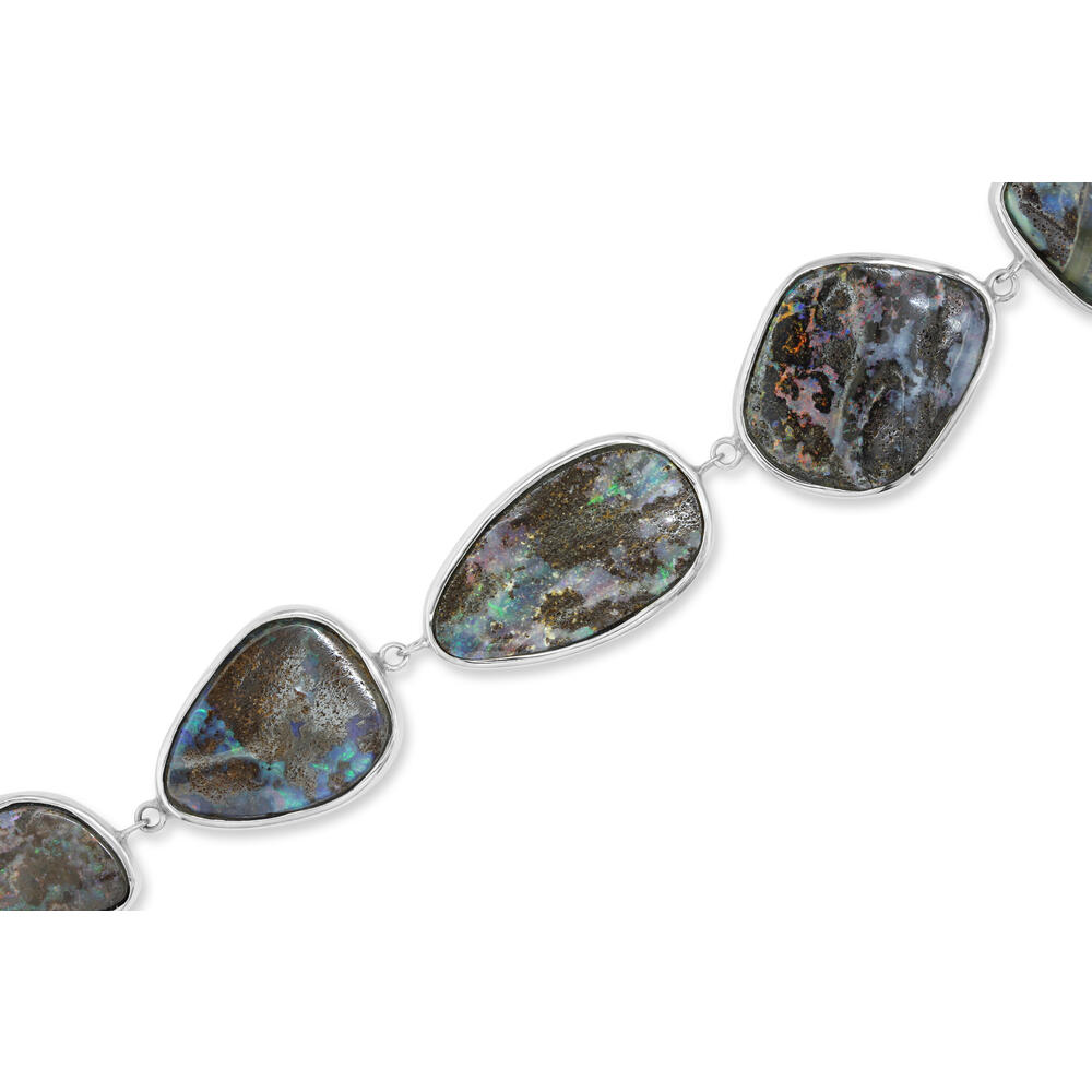 Sterling Silver Boulder Opal Bracelet - Sterling Silver Boulder Opal Plain Bezel Double Link Slide Clasp Bracelet. Each piece from this style is unique. The gemweight of the main gemstone will vary.