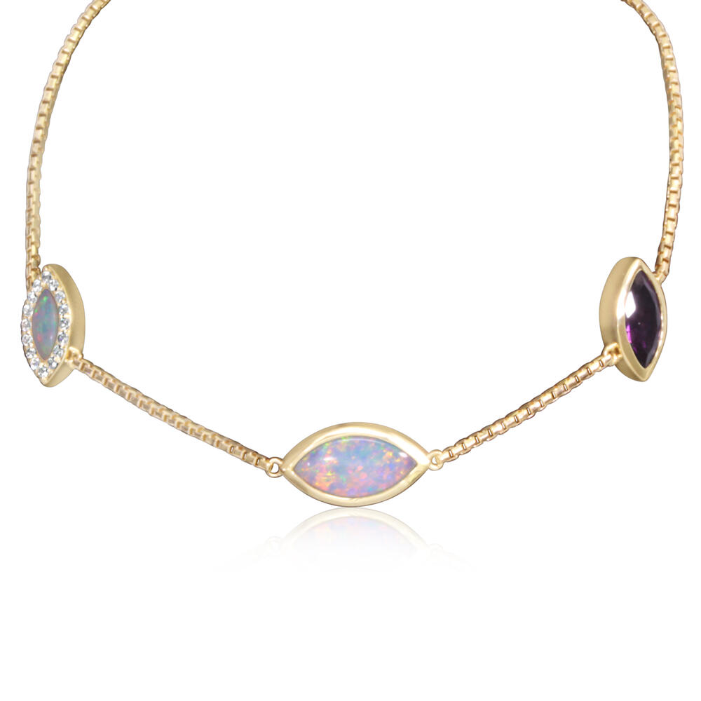 Yellow Gold Calibrated Light Opal Bracelet - 14K Yellow Gold Australian Opal/Purple Garnet Bracelet