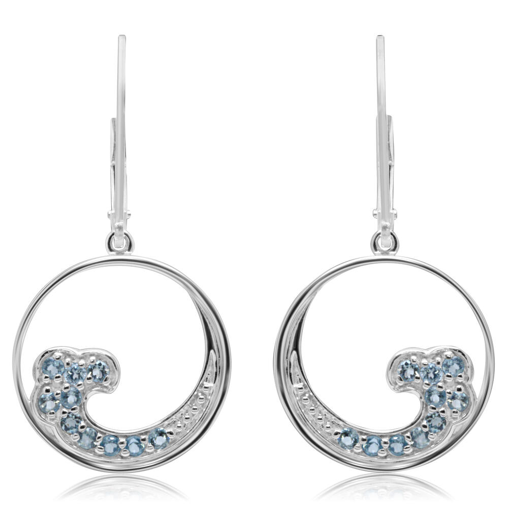 Sterling Silver Blue Topaz Wave Earrings - Sterling Silver Blue Topaz Wave Earrings