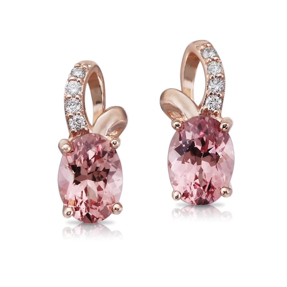 Rose Gold Lotus Garnet Earrings - 14K Rose Gold Lotus Garnet/Diamond Earrings