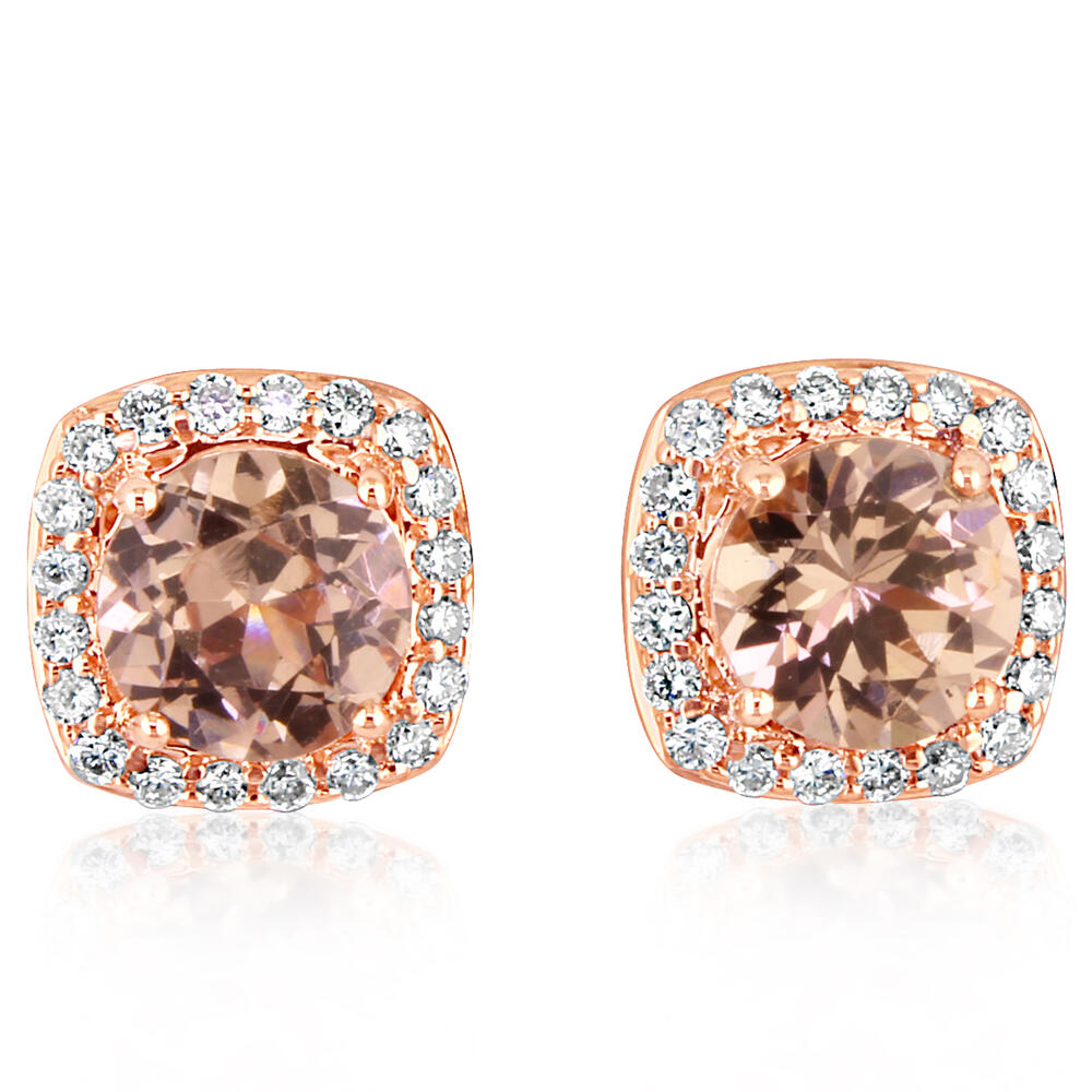 Rose Gold Lotus Garnet Earrings by Parle