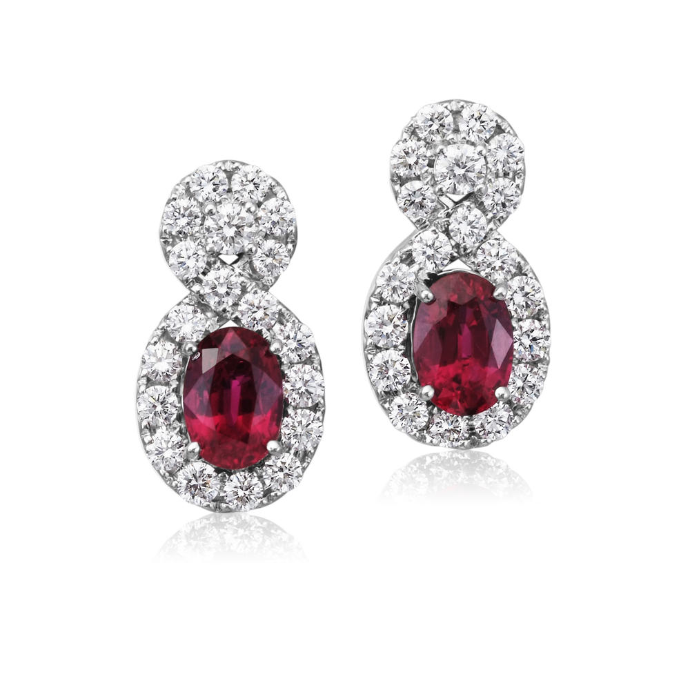 18K White Gold Mozambique Ruby/Diamond Earrings - 18K White Gold Mozambique Ruby/Diamond Earrings