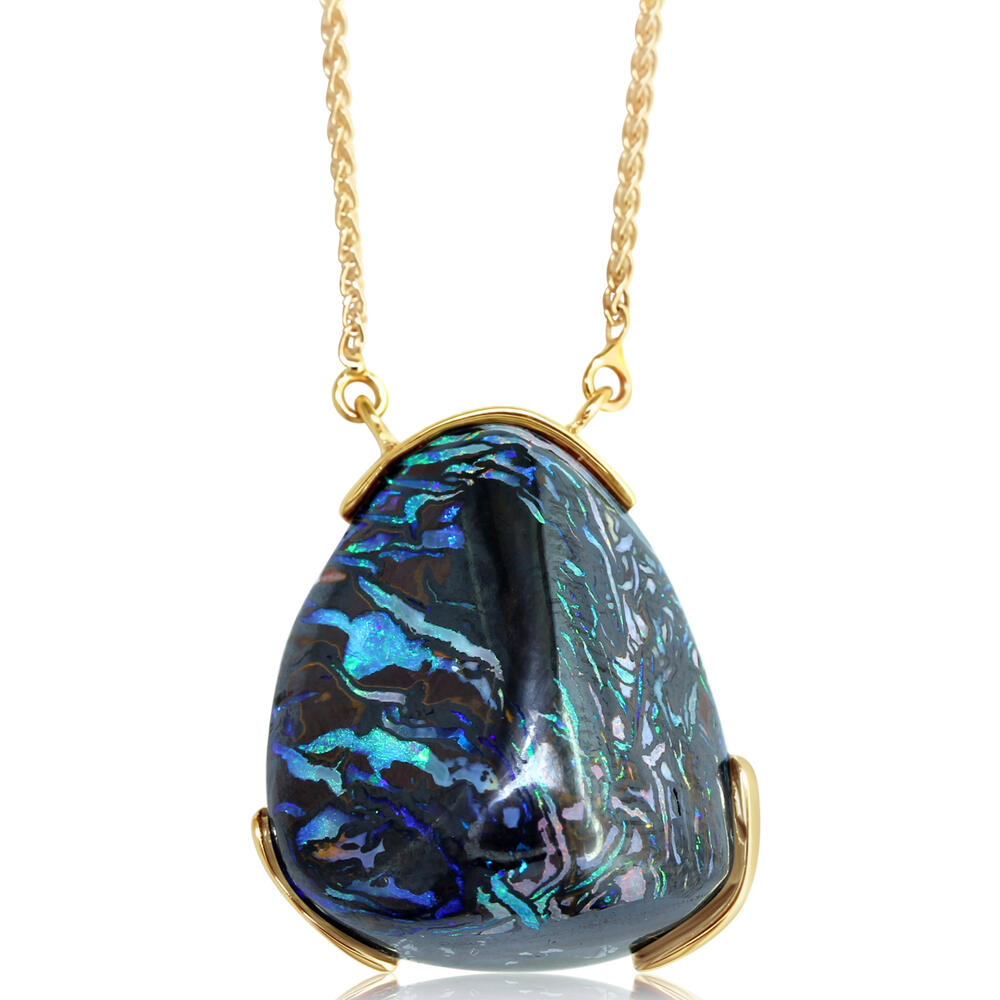 Necklaces - Yellow Gold Boulder Opal Necklace
