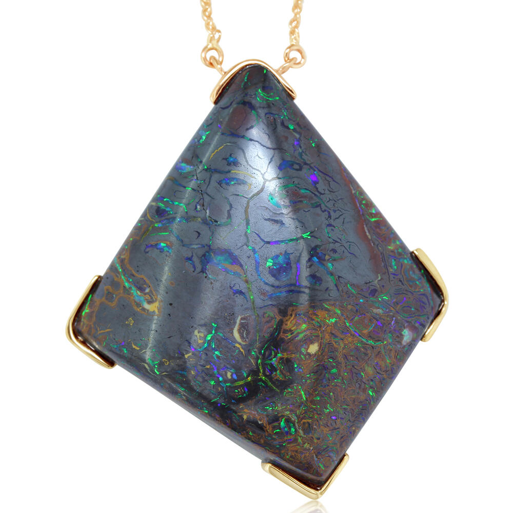 Necklaces - Yellow Gold Boulder Opal Necklace - image #2