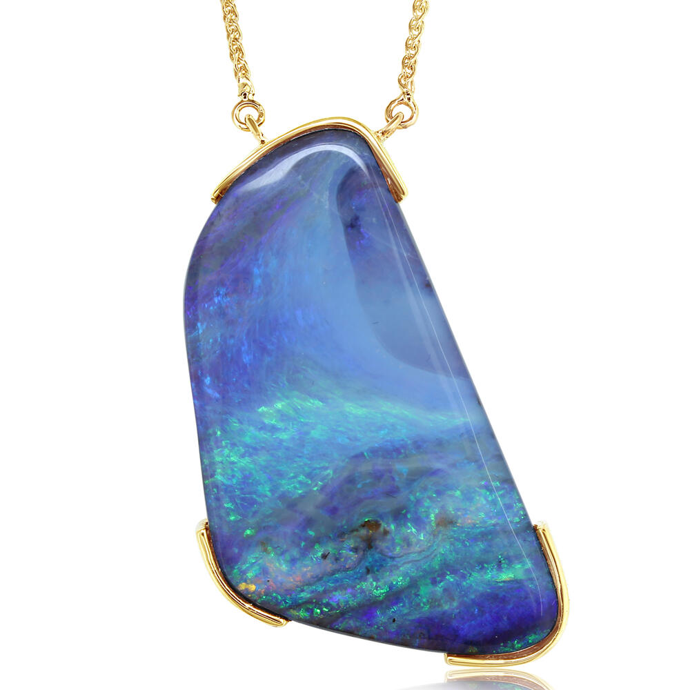 Necklaces - Yellow Gold Boulder Opal Necklace - image #3