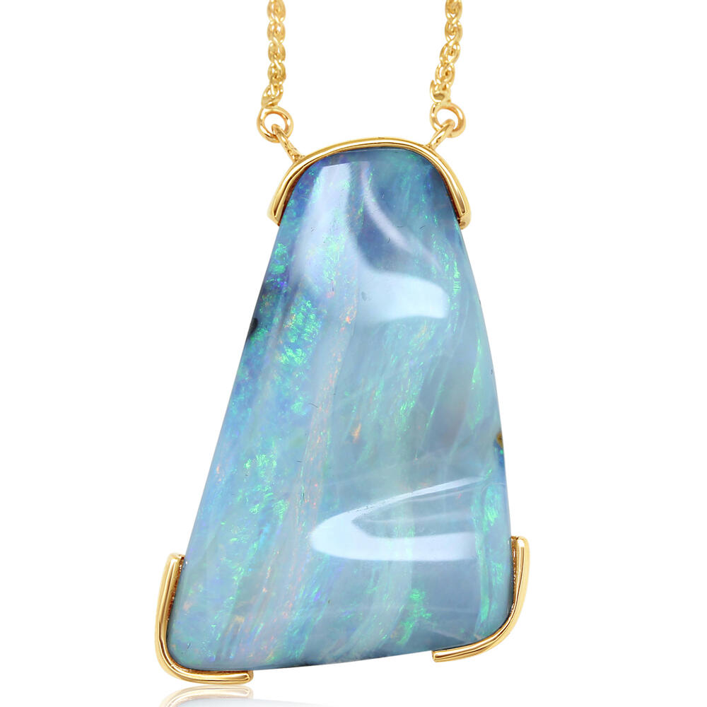 Necklaces - Yellow Gold Boulder Opal Necklace - image #4