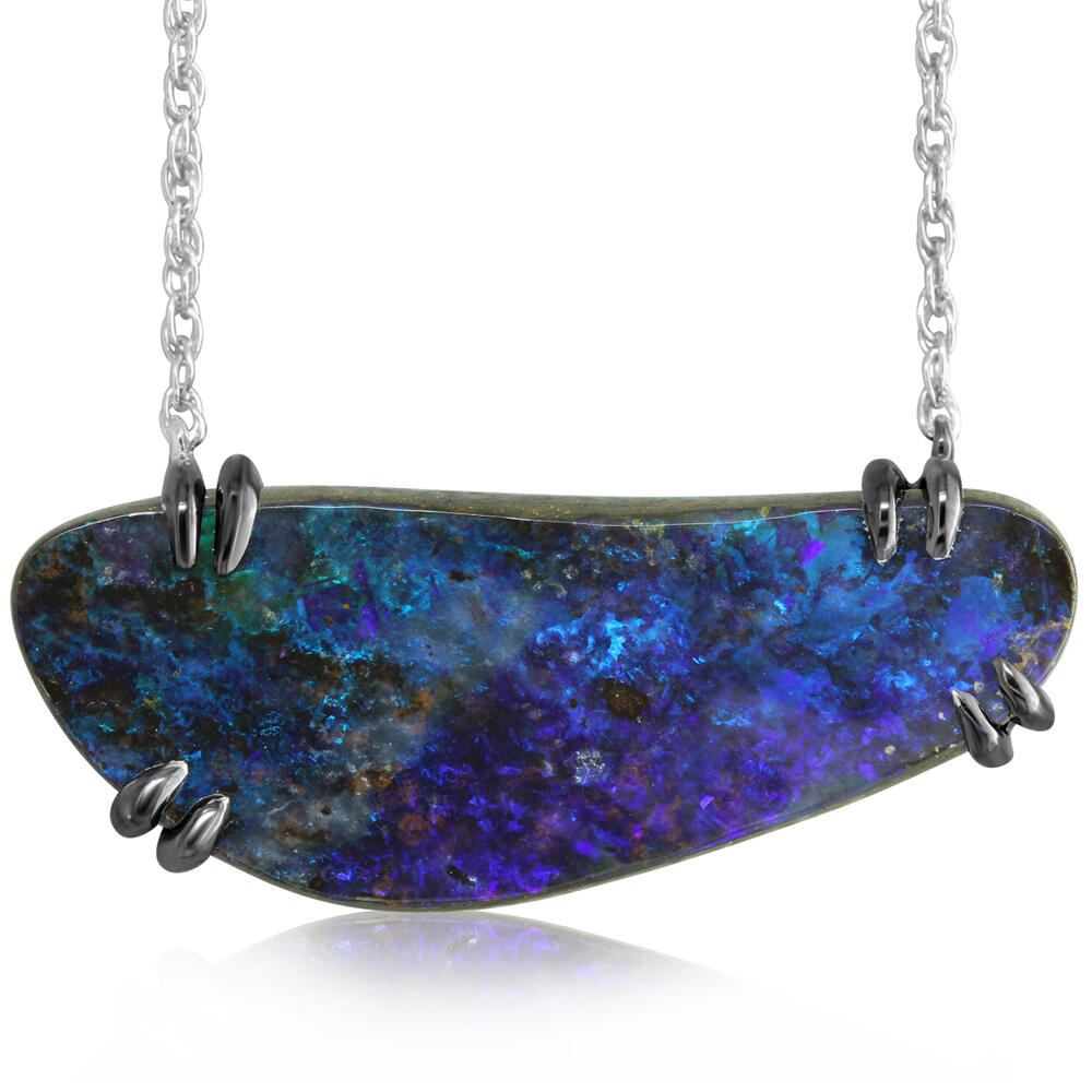 Necklaces - Sterling Silver Boulder Opal Necklace - image #3