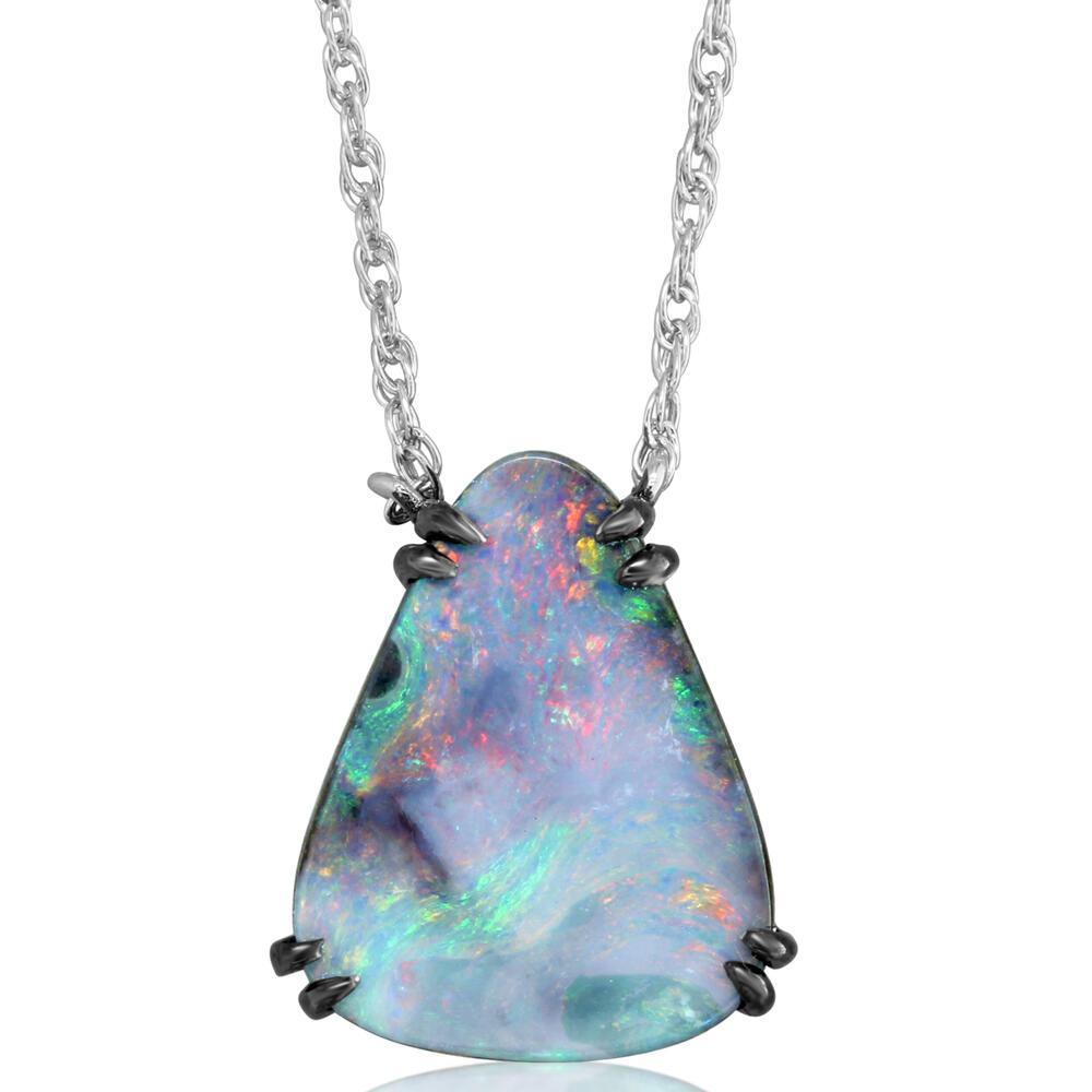 Necklaces - Sterling Silver Boulder Opal Necklace - image #2