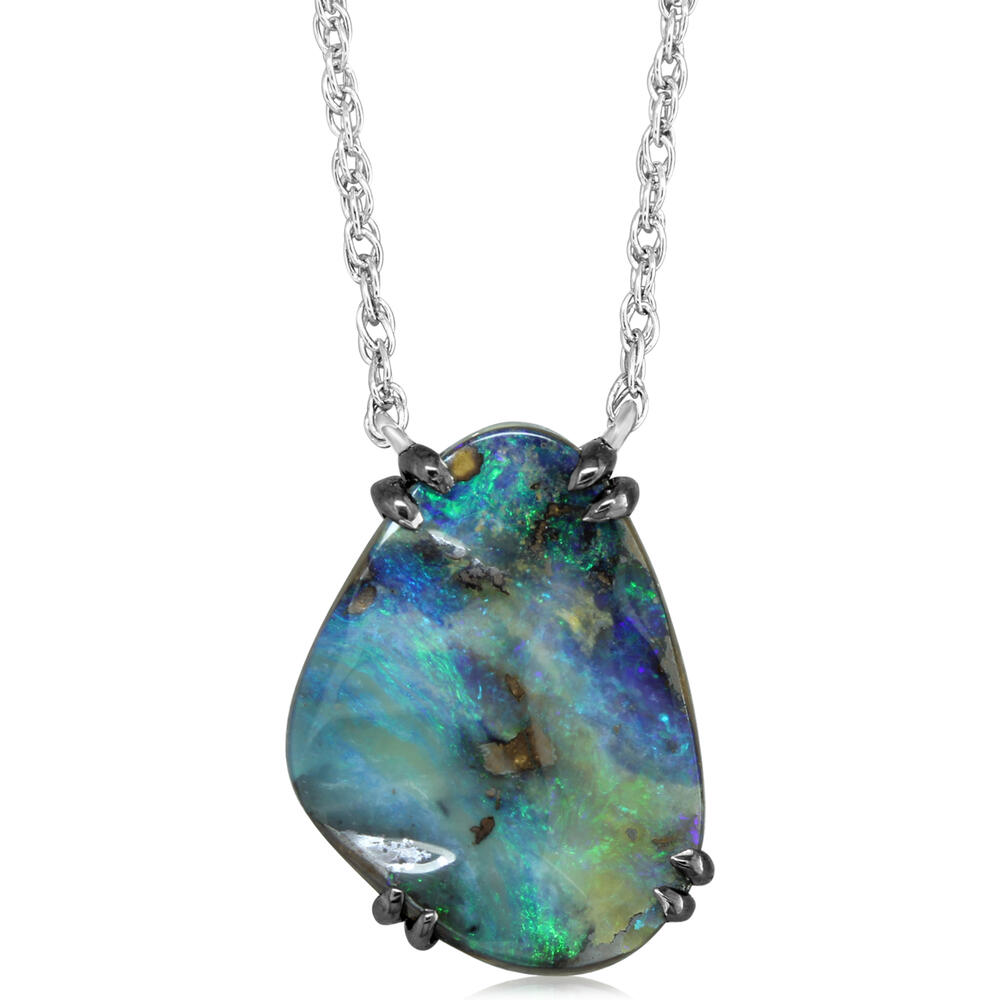 Necklaces - Sterling Silver Boulder Opal Necklace - image #5