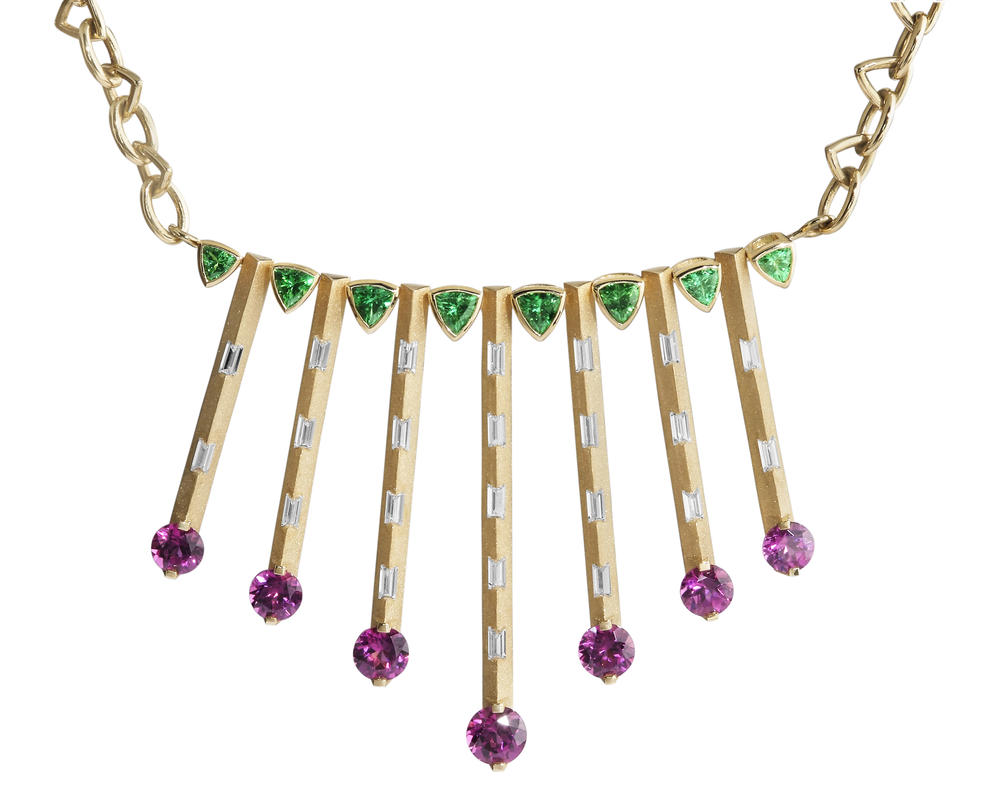Necklaces - Yellow Gold Garnet Necklace - image #3