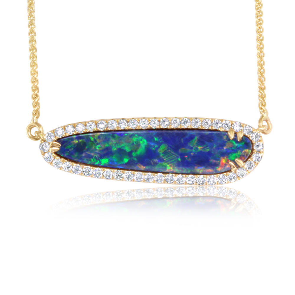 Yellow Gold Opal Doublet Necklace by Parle