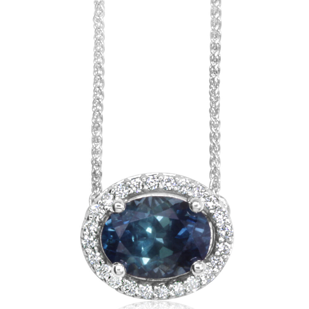 Necklaces - White Gold Sapphire Necklace
