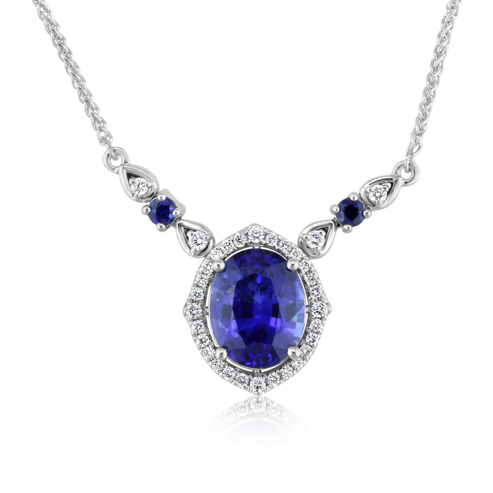 White Gold Sapphire Necklace - 18K White Gold Blue Sapphire/Diamond Neckpiece. This is a one of a kind piece. Total gem weight: 3.20 ct.