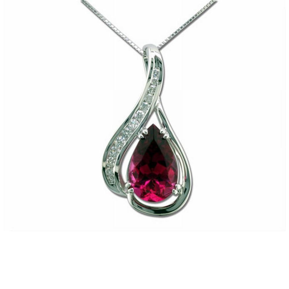 18K White Gold Raspberry Tourmaline(Rubellite)/Diamond Pendant - 18K White Gold Raspberry Tourmaline(Rubellite)/Diamond Pendant