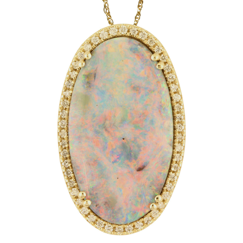 14K Yellow Gold Australian Boulder Opal/Diamond Pendant by Parle