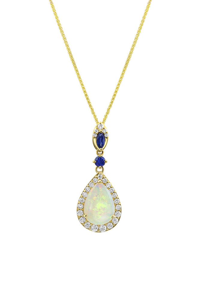 Yellow Gold Calibrated Light Opal Pendant - 14K Yellow Gold Australian Opal/Sapphire/Diamond Pendant ,H