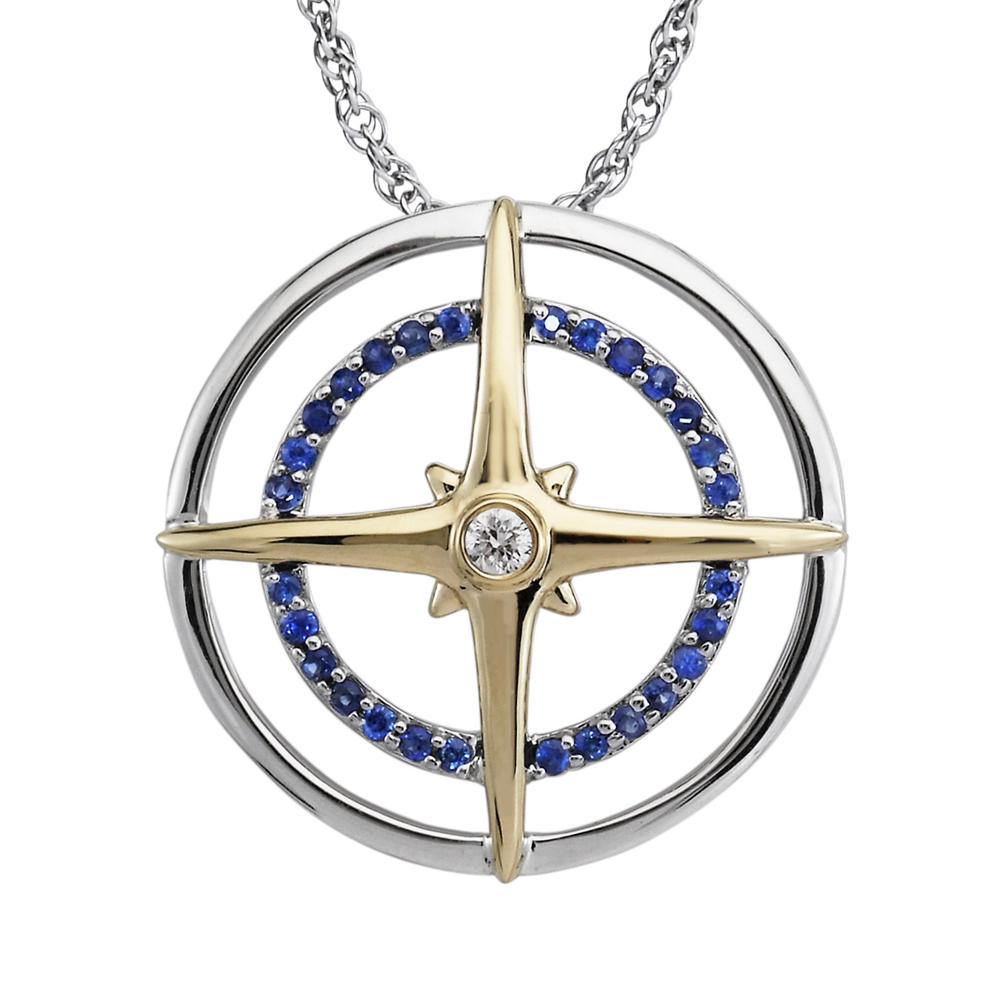 Sterling Silver /14K Yellow Gold Blue Sapphire/Diamond Compass Pendant by Parle