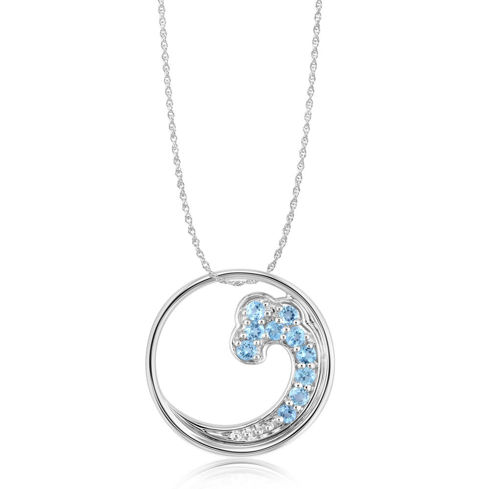 Sterling Silver Blue Topaz Wave Pendant by The Wave Collection