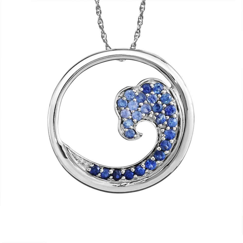 Sterling Silver Nature Graduated Blue Sapphire Wave 20mm Pendant by The Wave Collection