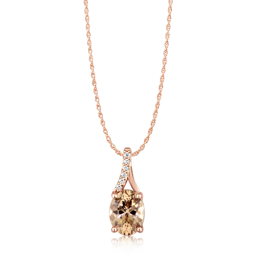Rose Gold Lotus Garnet Pendant - 14K Rose Gold Lotus Garnet/Diamond Pendant