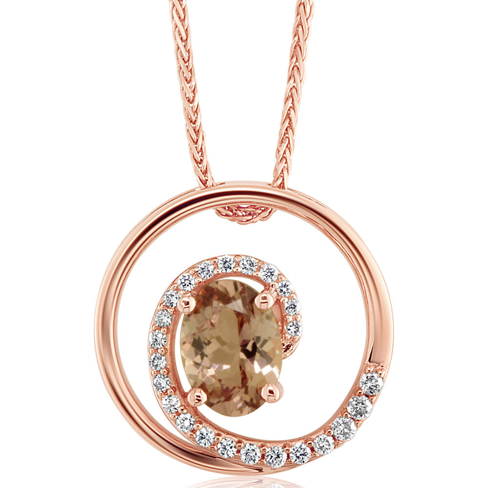 14K Rose Gold Lotus Garnet/Diamond Pendant - 14K Rose Gold Lotus Garnet/Diamond Pendant