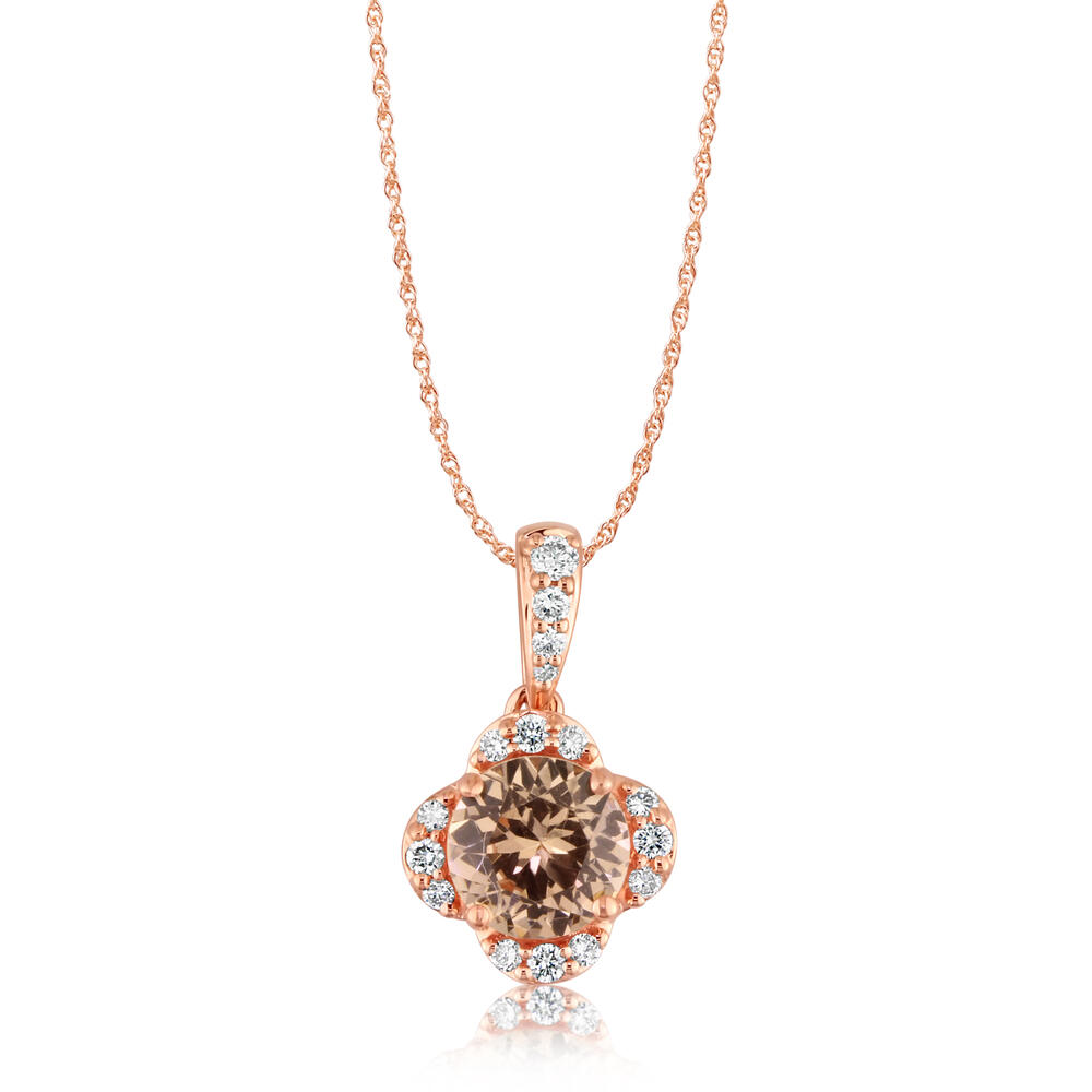 14K Rose Gold Lotus Garnet/Diamond Pendant